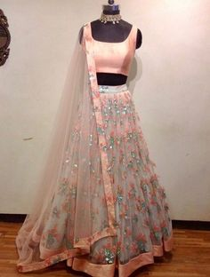 Beautiful Chiffon-Silk Lehenga-Choli with beautiful embellishments.
