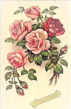 Vintage Flower Tattoo, Vintage Flowers, Vintage Floral, Vintage Cards, Vintage Paper, Vintage Postcards, Rose Flower Wallpaper, Flowery Wallpaper, Decoupage Vintage