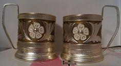 Vintage USSR Russian metal old tea Cup holder PODSTAKANNIK, 2pcs