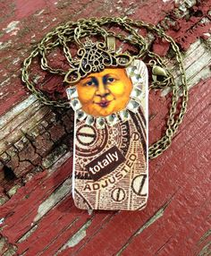 """Up-Cycled Whimsical """"Totally Adjusted Lady Moon"""" Domino Pendant by CraftyColettes, on Etsy"""