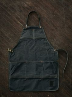Water Resistant Canvas and Leather Apron - Grey. $165.00, via Etsy.