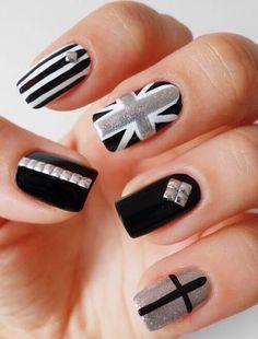 Black and White Nail Art Designs - Beach Nails Gorgeous Nails, Love Nails, Pretty Nails, Fun Nails, Fantastic Nails, Fabulous Nails, Black And White Nail Designs, Uñas Fashion, Creative Nails