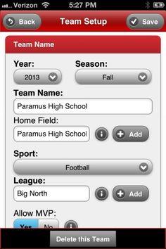Field A Team Coach - Team Setup