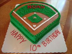 Another great baseball cake Baseball Field Cake by cakes by dania Baseball Field Cake, Baseball Birthday Cakes, Baseball Party, Birthday Fun, Baseball Cakes, Birthday Ideas, Baseball Grooms Cake, Baseball Desserts, Softball Cupcakes
