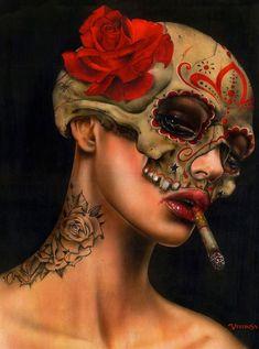Submitted by cynthia-b-demented: Viva La Muerte II - Brian M. Kunst Tattoos, Neue Tattoos, Cigarette Girl, Audrey Kawasaki, Smoke Art, Girl Smoking, Smoking Kills, Dark Art, Fantasy Art