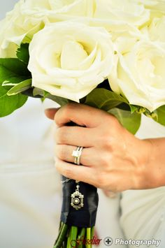 Keep an heirloom or memento of a loved one in your bouquet for remembrance and good  luck.