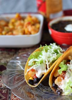 Veggie Tacos with Beans. Delish. Just use corn tortillas rather than commercialized shells. Cook on stove without oil for a healthier, fresher taste. #vegetarian #tacos