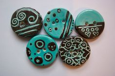 Handmade, hand painted ceramic buttons