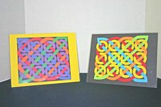 Easy paper crafts celtic design 12 circles two versions Celtic Crafts, Celtic Art, Kirigami, Saint Patricks Day Art, Middle School Art Projects, 6th Grade Art, Paper Weaving, Easy Paper Crafts, Art Lessons Elementary