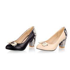 New Trendy Ladies' Fashion Shoes Faux Snakeskin PU Leather Block Med Heel Pumps Black& Beige Size US 4-10.5/EU34-43 S031 US $26.99