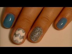 Chevron Blue and Silver Nail Design..how to do the chevron design for those lazy nail techs!!