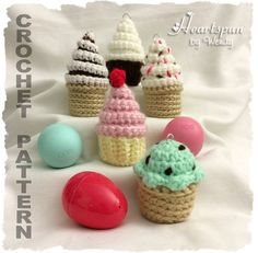 CROCHET PATTERN for Mini Cupcake and Ice Cream EOS Lip Balm and Easter Egg Holders with optional key ring, Pdf Format, Instant Download.