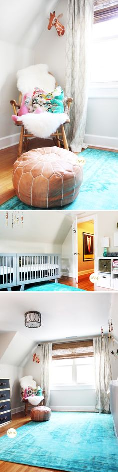 Charlie and Sloane's Nursery: A bright, airy space for twins with double Babyletto Hudson 3-in-1 Convertible Cribs in Grey <3