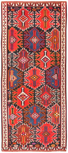Antique Tribal Turkish Kuba Kilim Rug 50421