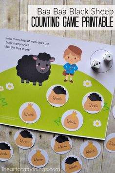 Use this cute Baa Baa Black Sheep themed preschool counting game printable to help toddlers and preschoolers work on counting skills and addition facts. Great learning activity for spring and Easter.