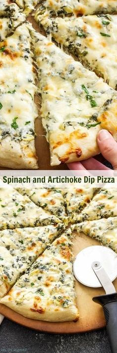 Get your appetizer and dinner all in one when you make this Spinach and Artichoke Dip Pizza! A lightened up version of classic spinach and artichoke dip acts as Think Food, Love Food, Vegetarian Recipes, Cooking Recipes, Healthy Recipes, Oven Recipes, Recipies, Veggie Pizza Recipes, Potato Recipes