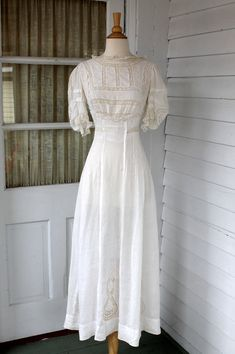 Antique Edwardian White Cotton Lawn Dress  Ornate by ChimpVintage, $180.00