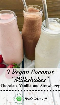 These vegan milkshakes are made with coconut milk. There are 3 recipes for 3 different flavours: chocolate, vanilla, and strawberry. Milkshake Recipe Without Ice Cream, Coconut Milkshake, Coconut Milk Drink, Coconut Milk Chocolate, Coconut Milk Smoothie, Coconut Milk Recipes, Chocolate Milkshake, Strawberry Milkshake, Oreo Milkshake