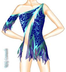 This is a great ice skate dress sketch.  I teach how to make this diagonal sheer in one of my Sew Like A Pro™ courses.