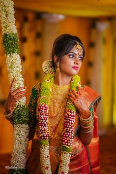 Indian Wedding Couple Photography, Bridal Photography, Flower Garland Wedding, Wedding Garlands, Pakistani Bridal Makeup Hairstyles, Wedding Saree Collection, Wedding Stage Decorations, Bridal Poses, Bridal Makeup Looks