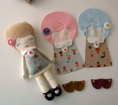 camilla and friends by Gingermelon Tiny Dolls, Soft Dolls, Cute Dolls, Softies, Felt Crafts, Fabric Crafts, Fabric Toys, Doll Tutorial, Sewing Dolls