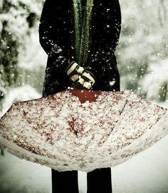 Red Umbrella Winter Clothes Snow