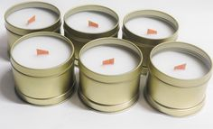 6 oz. Bulk Personalized Soy Candles | Handmade All Natural Aromatherapy Tin Candle Bulk Candles, Mason Jar Candles, Tin Candles, Coconuts Beach, Blue Cotton Candy, Pineapple Sage, Lime And Basil, Strawberry Champagne, Handmade Candles