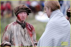 sam heughan is all bloody on outlander season 2 set 17