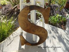 Large Uppercase Letter D Wedding Signs Rustic Wood by AllWoodToo #LargeWeddingLetters are nice to have at the wedding reception for guests to sign.  Add them to your #HomeDecor, $40
