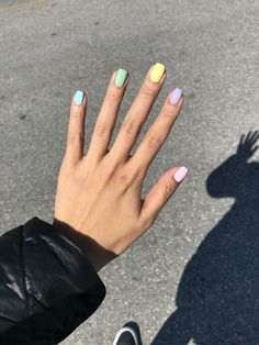 rainbow nails pastel nails fun nails fun nail designs rainbow pastel nails different colored nails different color nails spring nails Summer Acrylic Nails, Cute Acrylic Nails, Spring Nails, Glitter Nails, Red Glitter, Nails Gelish, My Nails, Nail Nail, Manicures