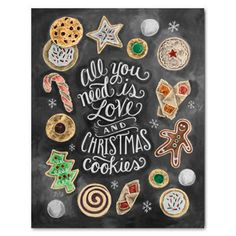 Items similar to Christmas Cookie Exchange - Christmas Cookie Party - Christmas Decoration - Chalkboard Art - Chalk Art - All You Need is Love - Kitchen Sign on Etsy Noel Christmas, Christmas Quotes, Winter Christmas, All Things Christmas, Xmas, Homemade Christmas, Simple Christmas, Christmas Wedding, Christmas Lights