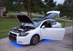 Blue and white Scion tc