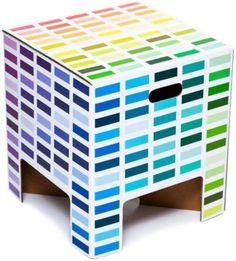 Uniek Dutch Design kartonnen krukje, model Rainbow