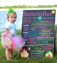 Custom Printable Beach Theme Birthday Poster Board Sign // Ocean // Sun // Beach Size 20x30