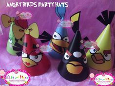 Printable Angry Birds party hats with 6 characters
