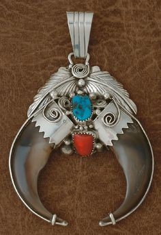 Double Pendant-  - Bear Claw- Turquoise And Red Coral- On Sterling Silver- Navajo Made-   Review the Tribal Impressions Bear Claw Jewelry Collection off of: http://www.indianvillagemall.com/jewelry/bearclaw.html