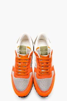 VALENTINO Orange & Grey Studded Sneakers