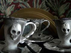 Items similar to Skull Tea Set. Dolls' Tea Set for Gothic, Gloomy Halloween Tea. on Etsy Halloween Doll, Halloween Party, Monster House, Gothic House, Runes, Photo Props, Tea Party, Skull, Miniatures