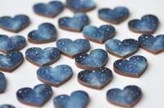 Wedding magnets Blue party favos Magnets hearts by MagicTwirl