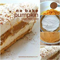 No Bake Pumpkin Pie, Easy Pumpkin Pie, Pumpkin Pie Recipes, Baked Pumpkin, Pumpkin Dessert, Pumpkin Spice, No Bake Desserts, Easy Desserts, Delicious Desserts