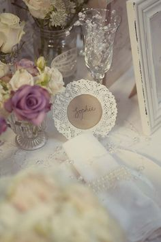 White Lace Frames Make Lovely Wedding Name Place Settings available from www.theweddingofmydreams.co.uk #wedding #theweddingofmydreams