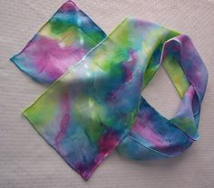 3 ColorsHand painted Silk Scarf by margaretclay
