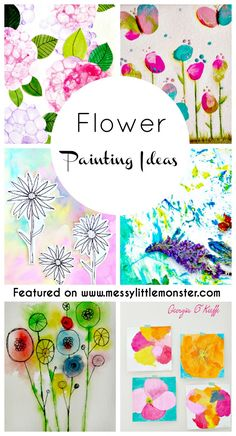 Flower Painting Ideas for Kids.  Simple, fun and colourful art & craft ideas for Spring and Summer.