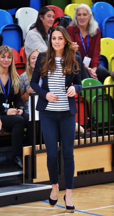 Casual chic: Kate dresses down for solo engagement