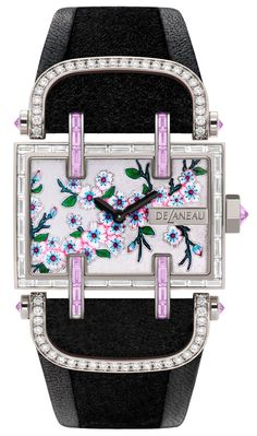 De Laneau Cerisier Spring watch - dial is hand painted and the case elaborately gem set with diamonds. Amazing Watches, Beautiful Watches, Cool Watches, Watches For Men, Unique Watches, Women's Watches, Ladies Watches, Elegant Watches, Spring Watch