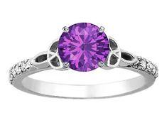 Amethyst Celtic Knot Diamond Engagement Ring with Diamond