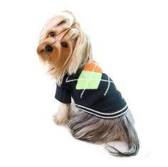 Dog Sweater - Klippo Argyle Pattern Turtleneck Dog Sweater in Charcoal/Navy