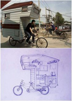 Man pulls a tiny trailer home on his bicycle. Here's the blueprint drawing of the structures interior that he included along with it. The mobile space, which can't be more than thirty square feet, has just enough room for a tiny kitchenette with a built-in bench, a sleeping loft and various drawers and shelves tucked into its nooks and crannies. It even has a mini TV set.