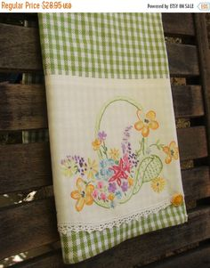 On Sale Vintage Towels Tea Towel Vintage Linen by TwoGirlsLaughing