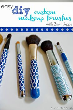 8 Jonathan Adler Inspired Projects DIY blue and white handle make up brushes